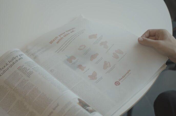Okuduktan sonra elinizi yıkamanız için sabuna dönüşen gazete reklamı